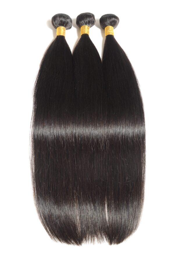 Straight black human hair weaves extensions bundels